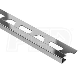 "Schluter QUADEC - Edging Profile - For 1/4"" Thick Tile - 8' 2-1/2"" Length - Stainless Steel"