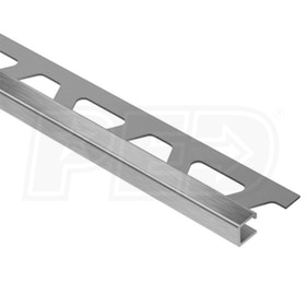 "Schluter QUADEC - Edging Profile - For 1/4"" Thick Tile - 8' 2-1/2"" Length - Brushed Stainless Steel"