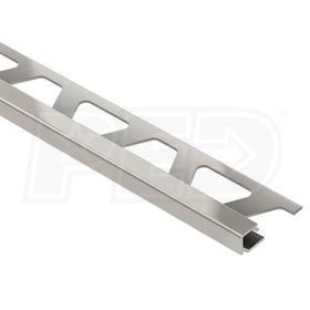 "Schluter QUADEC - Edging Profile - For 3/8"" Thick Tile - 8' 2-1/2"" Length - Satin Nickel Anodized Aluminum"