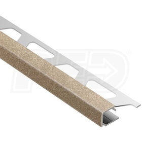 "Schluter QUADEC - Edging Profile - For 1/2"" Thick Tile - 8' 2-1/2"" Length - Tuscan Beige Colored Aluminum"