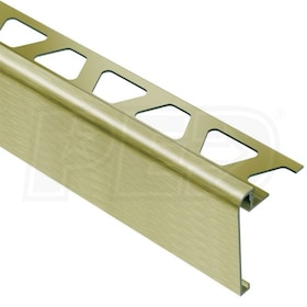 "Schluter  RONDEC-STEP - Stair-Nosing Profile - For 3/8"" Thick Tile - 2-1/4"" Height - 8' 2-1/2"" Length - Brushed Brass Anodized Aluminum"