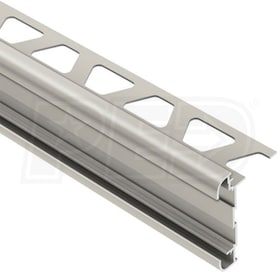 "Schluter RONDEC-CT - Double-Rail Edging Profile - For 5/16"" Thick Tile - 8' 2-1/2"" Length - Satin Nickel Anodized Aluminum"