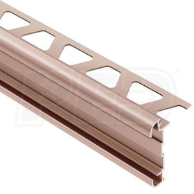 "Schluter RONDEC-CT - Double-Rail Edging Profile - For 3/8"" Thick Tile - 8' 2-1/2"" Length - Satin Bronze Anodized Aluminum"