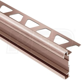 "Schluter RONDEC-CT - Double-Rail Edging Profile - For 1/2"" Thick Tile - 8' 2-1/2"" Length - Brushed Copper Anodized Aluminum"