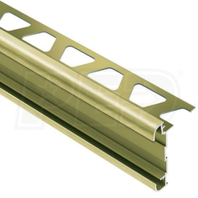 "Schluter RONDEC-CT - Double-Rail Edging Profile - For 1/2"" Thick Tile - 8' 2-1/2"" Length - Brushed Brass Anodized Aluminum"