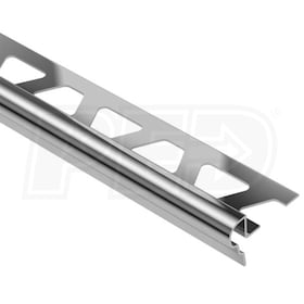 "Schluter TREP-FL - Stair Nosing Profile - For 11/32"" Thick Tile - 4' 11"" Length - Stainless Steel"