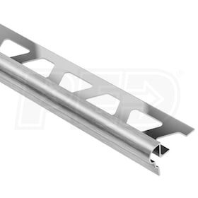 "Schluter TREP-FL - Stair Nosing Profile - For 7/16"" Thick Tile - 4' 11"" Length - Brushed Stainless Steel"