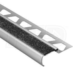 "Schluter TREP-G-B - Stair Nosing Profile - For 33/64"" Thick Tile - 8' 2-1/2"" Length - Brushed Stainless Steel w/ Black Tread"