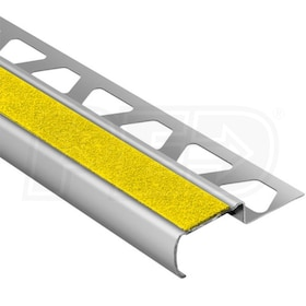 "Schluter TREP-G-B - Stair Nosing Profile - For 9/16"" Thick Tile - 8' 2-1/2"" Length - Brushed Stainless Steel w/ Yellow Tread"