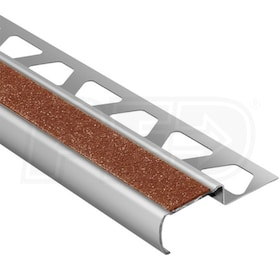 "Schluter TREP-G-B - Stair Nosing Profile - For 9/16"" Thick Tile - 4' 11"" Length - Brushed Stainless Steel w/ Nut Brown Tread"