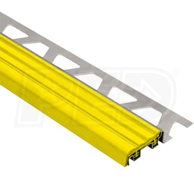"Schluter TREP-SE - Stair Nosing Profile - For 5/16"" Thick Tile - 4' 11"" Length - Stainless Steel w/ Yellow Insert"