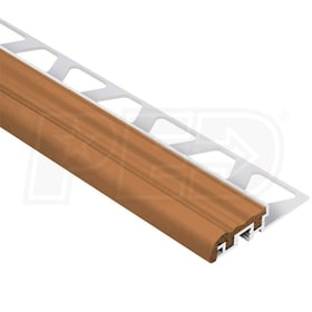 "Schluter TREP-S - Stair Nosing Profile - For 5/16"" Thick Tile - 8' 2-1/2"" Length - Aluminum w/ Nut Brown Insert"