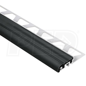 "Schluter TREP-S - Stair Nosing Profile - For 3/8"" Thick Tile - 4' 11"" Length - Aluminum w/ Black Insert"