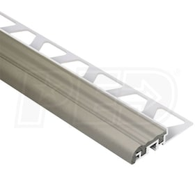"Schluter TREP-S - Stair Nosing Profile - For 1/2"" Thick Tile - 4' 11"" Length - Aluminum w/ Grey Insert"