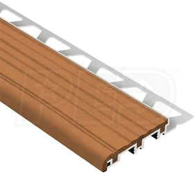 "Schluter TREP-B - Stair Nosing Profile - 8' 2-1/2"" Length - Aluminum w/ Nut Brown Insert"