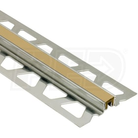 "Schluter DILEX-KSN - Surface Joint Profile - For 1/2"" Thick Tile - 8' 2-1/2"" Length - Stainless Steel with Light Beige"