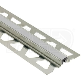 "Schluter DILEX-KSN - Surface Joint Profile - For 17/32"" Thick Tile - 8' 2-1/2"" Length - Stainless Steel with Classic Grey"