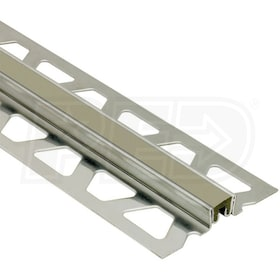 "Schluter DILEX-KSN - Surface Joint Profile - For 23/32"" Thick Tile - 8' 2-1/2"" Length - Stainless Steel with Grey"