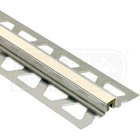 "Schluter DILEX-KSN - Surface Joint Profile - For 23/32"" Thick Tile - 8' 2-1/2"" Length - Stainless Steel with Sand Pebble"