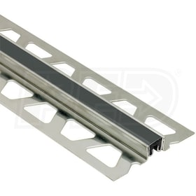 "Schluter DILEX-KSN - Surface Joint Profile - For 1"" Thick Tile - 8' 2-1/2"" Length - Stainless Steel with Black"