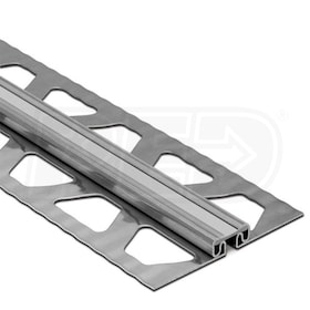 "Schluter DILEX-EKSB - Surface Joint Profile - For 3/16"" Thick Tile - 8' 2-1/2"" Length - Stainless Steel with Classic Grey"