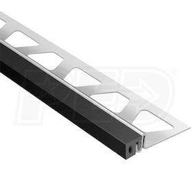 "Schluter DILEX-KSA - Perimiter Joint Profile - For 5/16"" Thick Tile - 8' 2-1/2"" Length - Stainless Steel with Black"