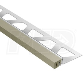 "Schluter DILEX-KSA - Perimiter Joint Profile - For 1-3/16"" Thick Tile - 8' 2-1/2"" Length - Stainless Steel with Grey"