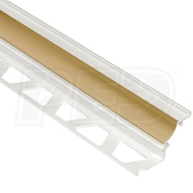 "Schluter DILEX-PHK - Cove Shaped Profile - For 1/2"" Floor and 1/2"" Wall Tile - 8' 2-1/2"" Length - Light Beige PVC"