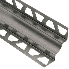 "Schluter DILEX-EHK - Cove Shaped Profile - For 7/16"" Floor and 7/16"" Wall Tile - 8' 2-1/2"" Length - Brushed Stainless Steel 304"