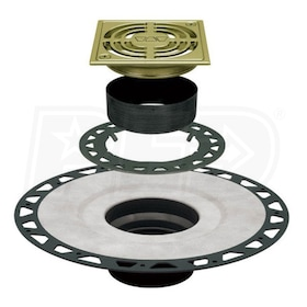 "Schluter KERDI-DRAIN - ABS Flange - Drain Kit - 2"" Drain Outlet - 4"" Square Grate - Brushed Brass Anodized Aluminum"