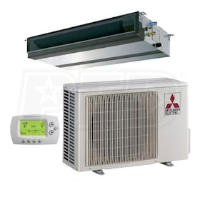 Mitsubishi - 24k BTU Cooling + Heating - P-Series Concealed Duct Air Conditioning System - 16.0 SEER