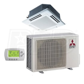 Mitsubishi - 36k BTU Cooling + Heating - P-Series Ceiling Cassette Air Conditioning System - 14.2 SEER