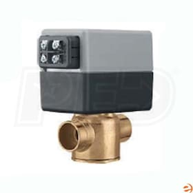 "Caleffi  Z-One Z50F 2-Way Valve and Actuator Set with Terminal Block & AUX Switch, Inverted Flare & 3/4"" Sweat Connections"