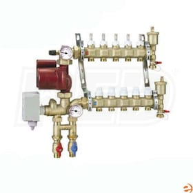 "Caleffi Pre-assembled Motorized Manifold Mixing Station, 5 outlets, 24V Floating, Flow Gauges, 3/4"" Ball Valves"