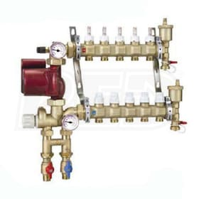 "Caleffi Pre-assembled Fixed Point Manifold Mixing Station, 10 outlets, Thermostatic Fixed Point Mixing, Flow Gauges, 3/4"" Ball Valves"