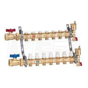 "Caleffi Pre-assembled Distribution Manifold Assembly, 12 Outlets, 1-1/4"" Inlet Ball Valves, 2.3 Cv"