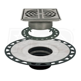 "Schluter KERDI-DRAIN - ABS Flange - Drain Kit - 2"" Drain Outlet - 6"" Square Grate - Stainless Steel"