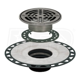 "Schluter KERDI-DRAIN - ABS Flange - Drain Kit - 2"" Drain Outlet - 6"" Round Grate - Stainless Steel"