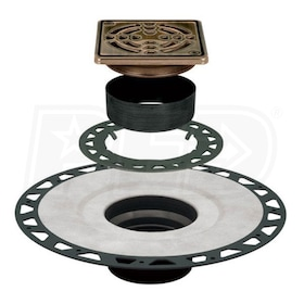 "Schluter KERDI-DRAIN - ABS Flange - Commercial Adaptor Kit - 4"" Square Grate - Oil Rubbed Bronze Steel"