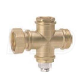 "Caleffi 1-1/4"" M x Temperature Well x 1-1/4"" M x 1/2"" FNPT Brass Cross Fitting"