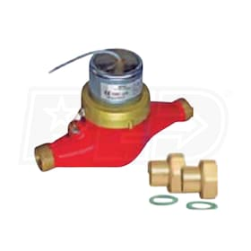 "Caleffi 65 GPM Multi-Jet Rotary Pulse Flow Heat Meter - 2"" Sweat, used to measure liquid flow for energy heat production"