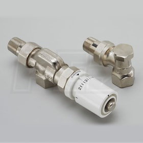 "Runtal Thermostatic Valve Set - 1/2"" NPT - Reverse Angle - Shut-Off and Control - Nickel Plated"
