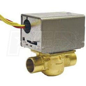 "Honeywell Motorized Low Voltage Normally Closed Zone Valve, 3/4"" Pipe, Sweat Connection"