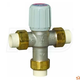 "Honeywell Thermostatic Mixing Valve, 3.9 Cv, 70F to 120F Operating Temperature Range, 1/2"" Union CPVC Connection"