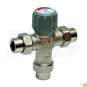 "Honeywell Thermostatic Mixing Valve, 3.9 Cv, 70F to 120F Operating Temperature Range, 1/2"" Union NPT Connection"