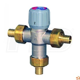 "Honeywell Thermostatic Mixing Valve, 3.9 Cv, 70F to 180F Operating Temperature Range, 3/4"" Union PEX Connection"