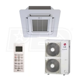 LG - 42k BTU Cooling + Heating - Ceiling Cassette Air Conditioning System - 17.0 SEER