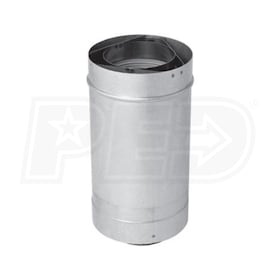 "Crown Boiler Co. 100mm Diameter - Concentric Adjustable Straight Vent Pipe - 19.5"" Length"