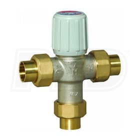 "Honeywell Thermostatic Mixing Valve, 3.9 Cv, 70F to 145F Operating Temperature Range, 1/2"" Union Sweat Connection"