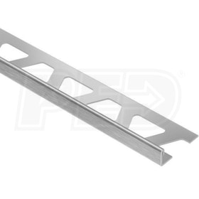 "Schluter SCHIENE - Edging Profile - For 7/16"" Thick Tile - 8' 2-1/2"" Length - Brushed Stainless Steel"